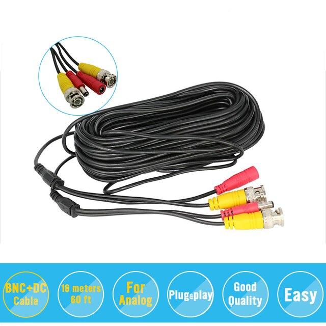 BNC видео Мощность комбинированный кабель 59ft 18 м для аналогового AHD CVI CCTV камера видеонаблюдения комплект