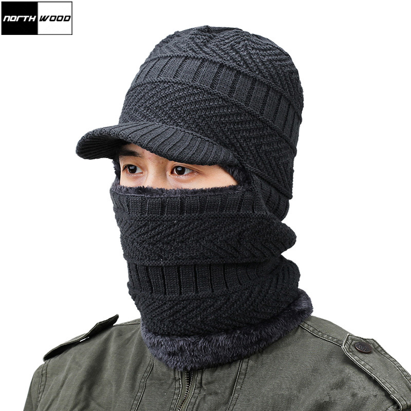 [NORTHWOOD] Winter Mens Motocycle Balaclava Full Face Masks with Brim Knitted Beanies Hats and Scarfs Ski Snowboard Balaclava