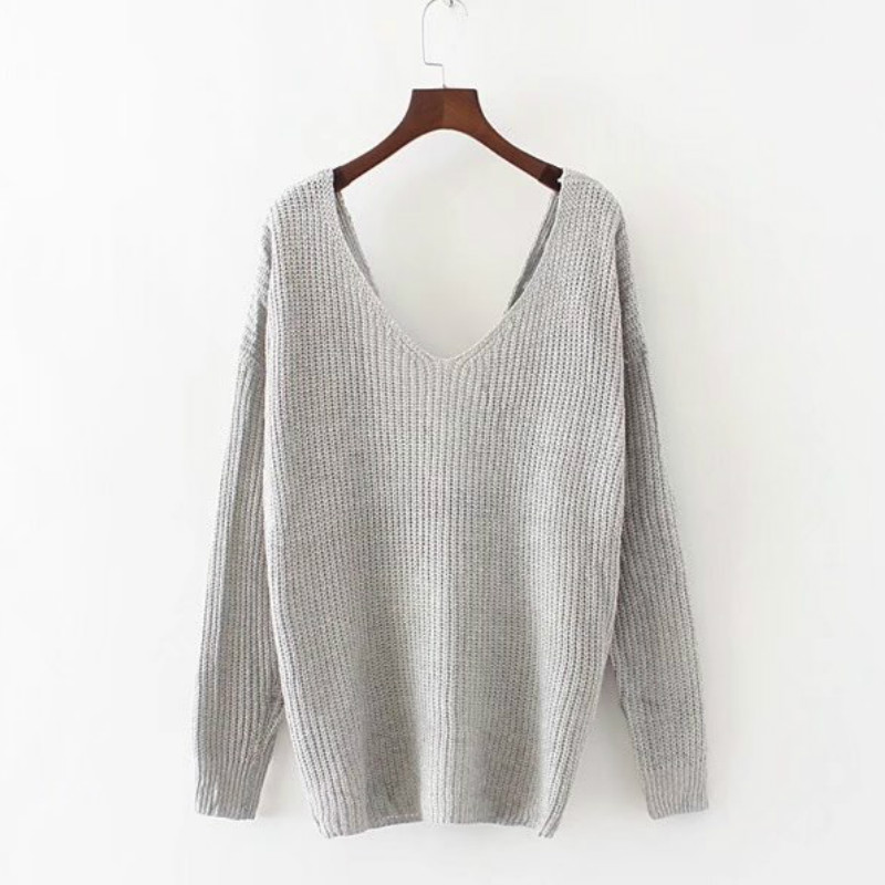 sexy backless V neck sweater women loose long sleeve pull 2017 Fashion back bow soft pullovers thin sweaters jumper gray khaki