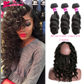 World Best Hair preplucked 360 Lace Frontal closure With Bundles loose Wave  Indian Virgin Hair Full Lace 22.5*4*2 Fast Shipping