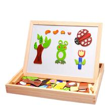 Wooden Magnetic Dual Sides Board Animal Puzzle Toy Early Learning Educational Cognitive Exercise for Children