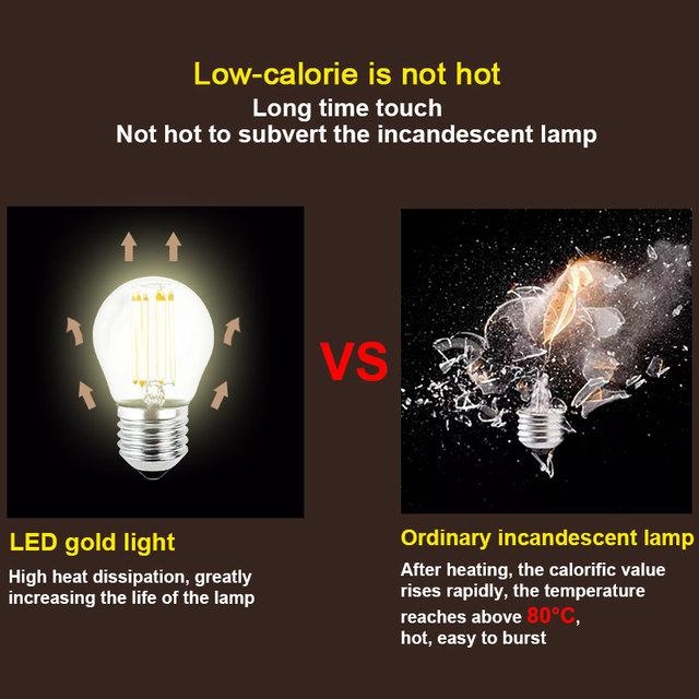 LED Bombillas Light E27 Dimmable Edison Glass Lamp G45 Led Filament Bulb E14 2W 4W 6W Antique Retro Vintage Led Bulb 220V