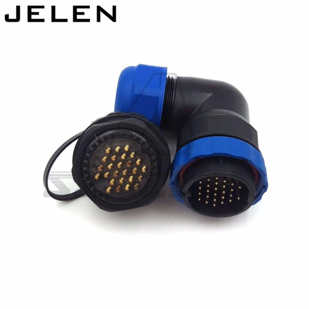 SD28TA-ZM, 90 degree elbow waterproof connector 26pin, IP67, 26 pin plug and socket