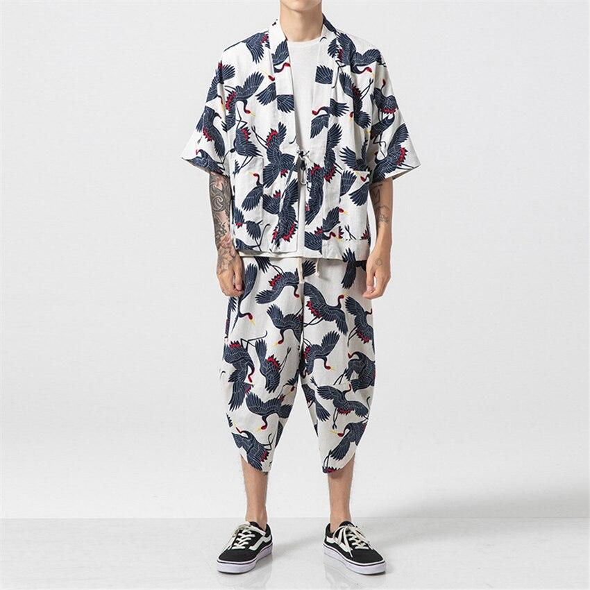 2Pieces Clothing Set For Man Japanese Fashion Summer Harajuku Cotton Linen Crane Print Kimono Haori Cardigan Yukata Harem Pants