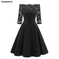 In Stock Sexy Boat Neck Cocktail Dresses Elegant Short Little Black Dress Three Quarter Sleeve Lace Formal Dress Short Prom Gown