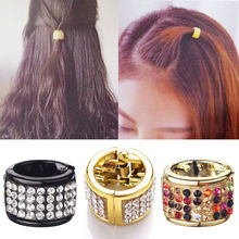 M MISM Fashion Women Elastic Hair Full Rhinestone Handmade Ring Shape Gum for Hair Ponytail Holder Scrunchy Hair Accessories(China)