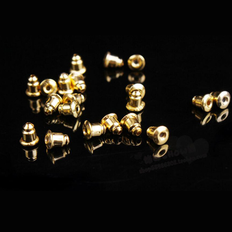 New 500pcs/lot Alloy Plating Earring Backs Stoppers Earnuts Earring Plugs DIY Gold/Silver Color Plated Findings Jewelry Accessor
