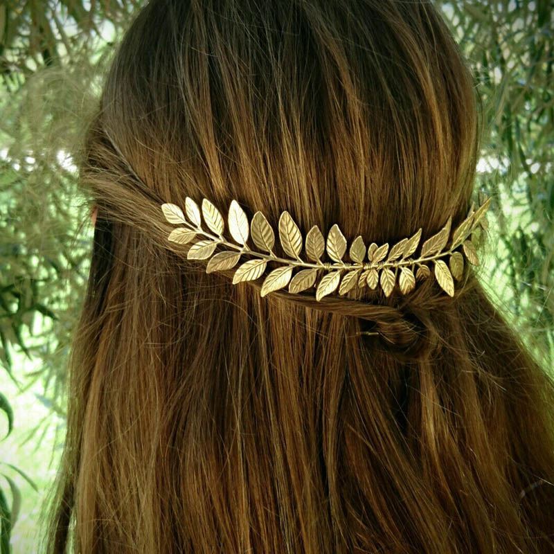 Greek Bridal Wedding Hair Accessories Headdress Gold Silver Olive Leaf Headband Hair Comb Clip Hairpin Crown Jewelry Headpiece