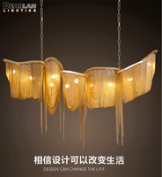 Modern Aluminium Chain Chandelier Lighting Luxury Italy Tassel Chain Drop Lamp Lobby Hotel Club Villa Project Light MD86211