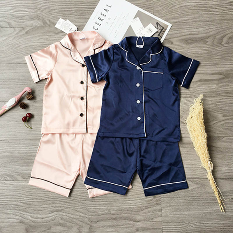 Summer Pajamas Suit Children's Pajamas for girls Pijama Seti Trim Satin Cami kids Sleepwear Short Sleeve Nightwear 2PC Korea New cami satin two piece summer pajamas