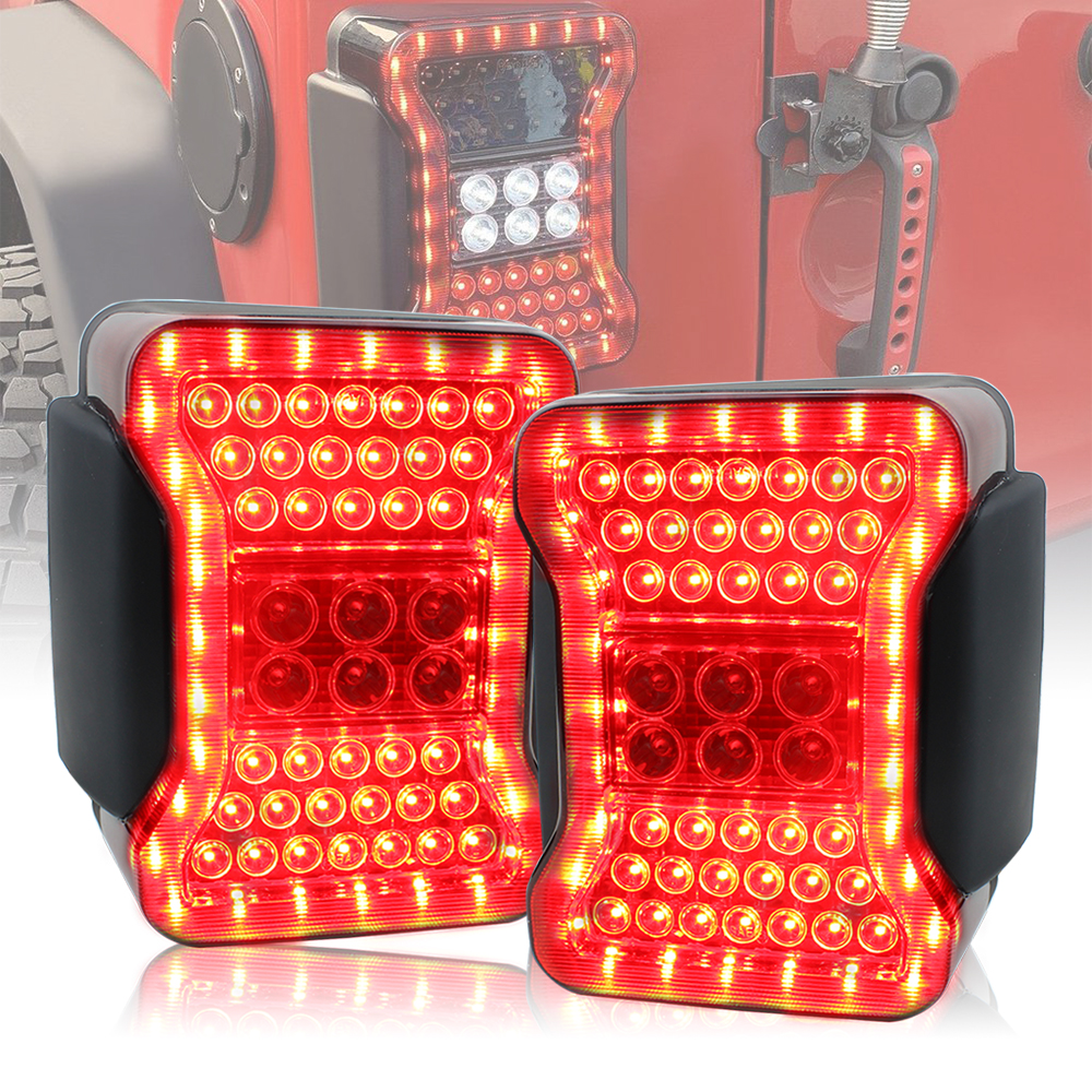 Red Color For Jeep Wrangler JK Taillight Assembly LED White Reverse Light Red Running Light Brake Light New design Small waist-in Car Light Assembly from Automobiles & Motorcycles    1