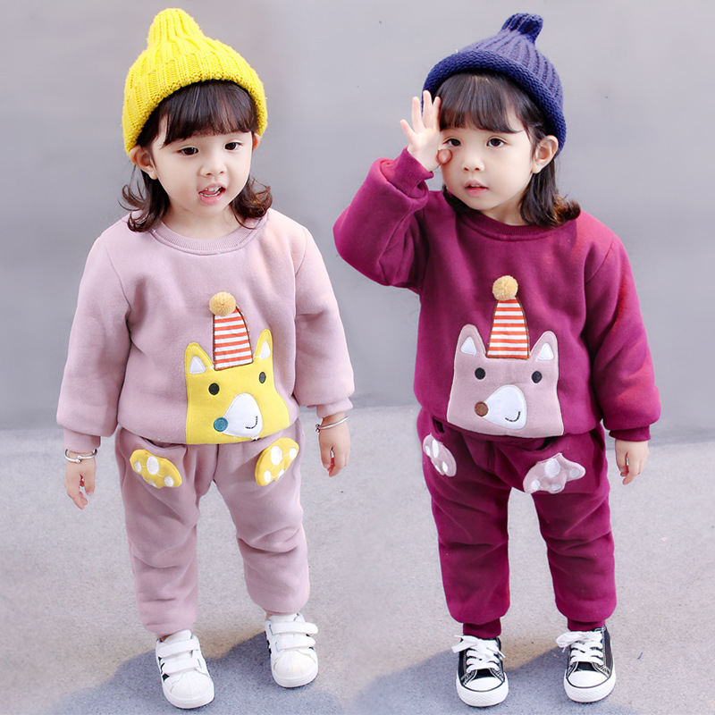 Anlencool Hot Boys Girls Children Winter Wool Baby Sports Suit New 2017 Jacket Sweater Coat & Pants Thicken Kids Clothes Sets the new children s cubs hat qiu dong with cartoon animals knitting wool cap and pile