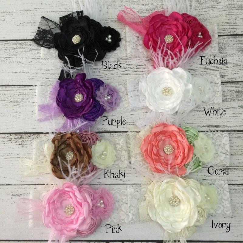 Baby Girls Flower Lace Headband Newborns Rhinestone Feather Headwear Infant Photography Props Hair Accessory Kidocheese