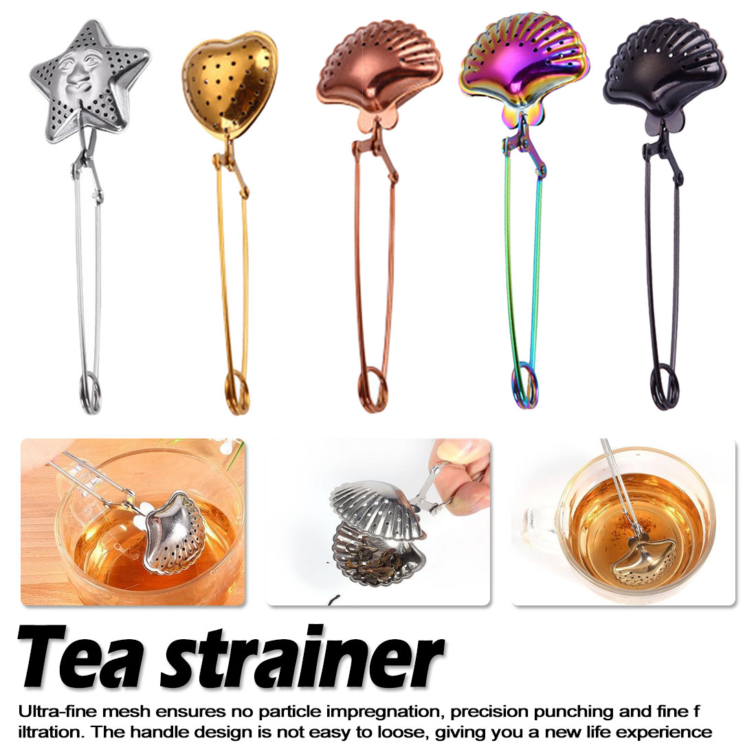 Tea Strainer Stainless Steel Heart Star shell Shape Tea Infuser Spice Filter Reusable teabag Handle Tea Teapot Tool Accessories