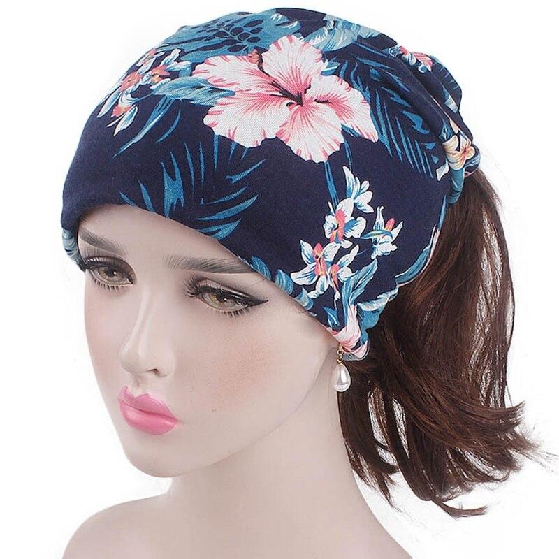 Women Indian Muslim Stretching Printing Turban Bandanas Headwear Chemo Hat Hood Hair FZ 24BC Fashion