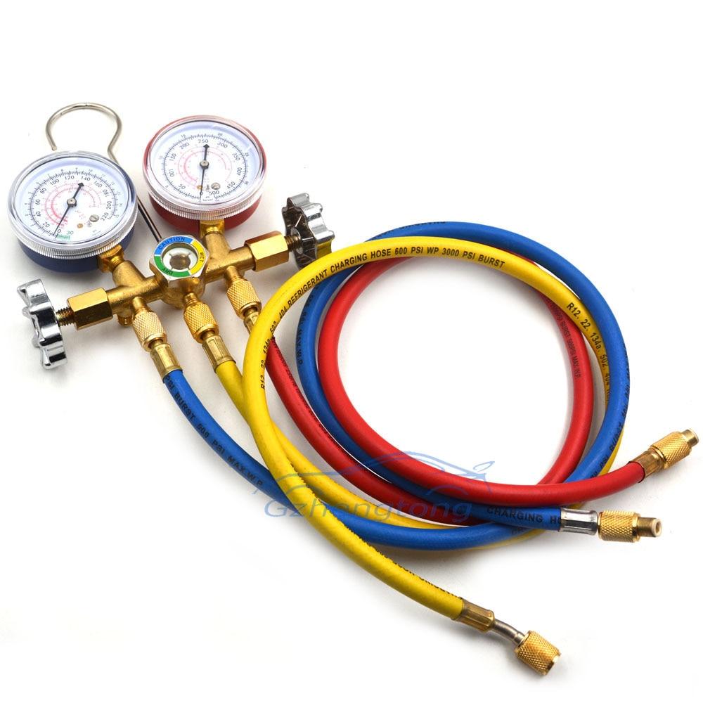 Auto A//C Refrigerantion Charging 3-Way Manifold Gauge Set R12 R22 R134A R502