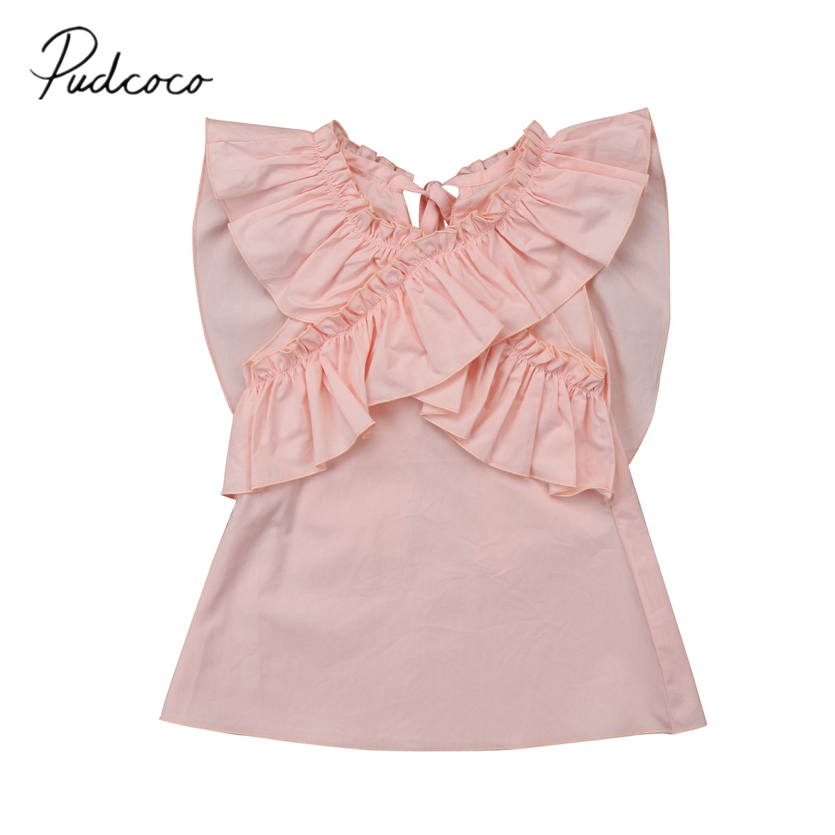 2018 Brand New Sweet Toddler Infant Child Kids Baby Girl Ruffle Princess Dress Casual Clothes Outfits Little Wing Sundress 3M-4T spring new princess kids toddler girl denim dress kid little girl suspender dress baby clothes mermaid dress free drop shipping