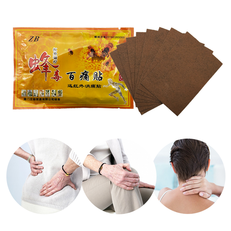 8Pcs Medical Plaster Natural Herbal Bee Venom Plaster Cure Joint Pain Relieving Patch Neck Back Body Pain Patch
