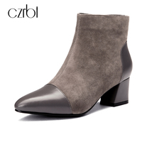 CZRBT 2018 High Quality Spring Autumn Women Boots Pointed Toe Chelsea Boots Sheep Suede Leather Zipper