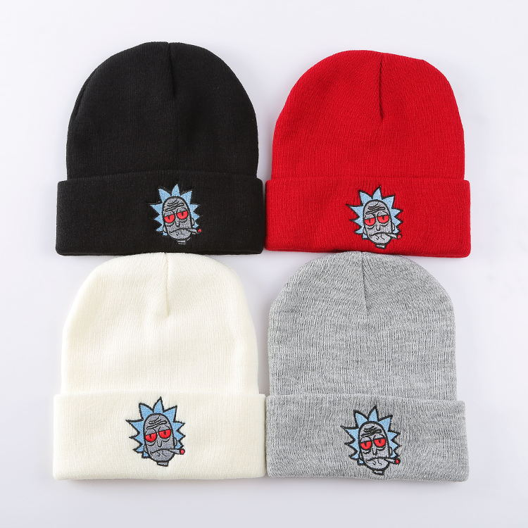 OHCOMICS Hot Anime Rick and Morti Skullies Beanie Cotton Knitted Hat Cap Hip-Hop Red Black White Unisex Costume XMAS Gifts