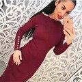 2016 Otoño Vino Rojo Con Botones de Oro Mujer Vestido de Invierno Que Hace Punto de Algodón Thicked Rodilla-longitud Vestido Formal Vestidos de Fiesta Vestidos