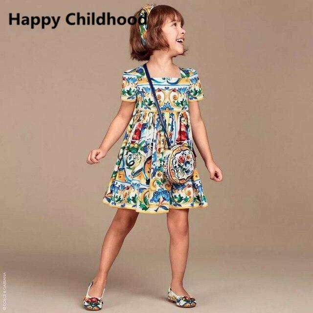 2016 Лето Печати Девушки Одеваются 1 шт. 3-13Y детское одежда старинные партия девушки одеваются платье принцессы дети платья для девочек