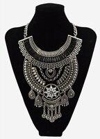 Bohemian Gypsy Vintage bijoux Moon collier déclaration collier femmes chaîne en argent goutte d'eau gland longues Maxi collier