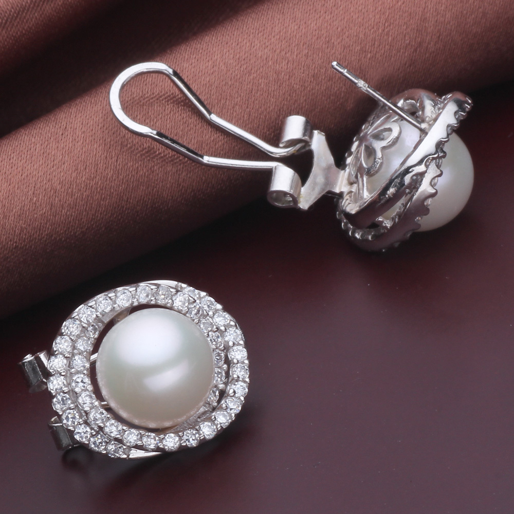 Wedding Natural Clip Pearl Earrings For Women White Big 925 Silver Pearl Earring Jewelry Brincos Pendientes Birthday Gift