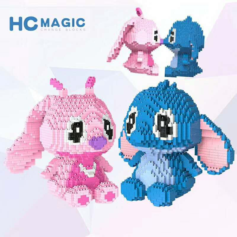 HC Magic Blocks Big size kawaii Anime Stitch Plastic Building Blocks Toys Brinquedos for Kids Xmas Gift Girls Present Valentine brand new yuxin zhisheng huanglong high bright stickerless 9x9x9 speed magic cube puzzle game cubes educational toys for kids