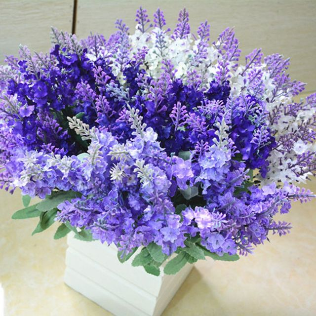10 Heads Artificial Lavender Flower Bouquet Party DIY Home Room ...