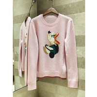 Cartoon duck embroidery soft pink cashmere sweater 100%cashmere sweater high quality women's sweater 2018 winter