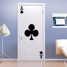 Creativo carte Da Gioco Ace of clubs Porta Wall Sticker FAI DA TE porta della camera Art Home Decor Murale In Vinile adesivi murali Carta Da Parati decalcomanie(China)