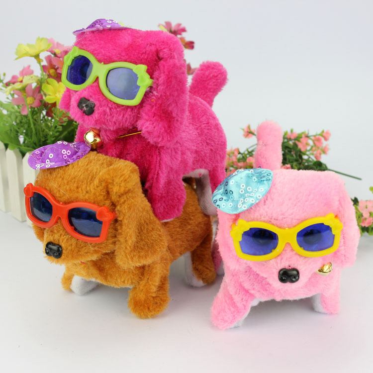 Electric Toys Glasses Plush Puppy Dog Battery Powered Electric Pet Dog Canl Wag Its Tail Can Walk Can Bark Funny Gift For Kids