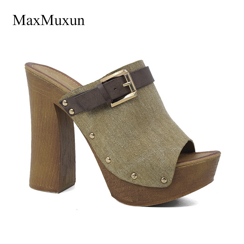 1584595dee4 ... Buckle Ladies Heel High Peep Canvas Round Toe Platform Shoes Wooden  Thick Sandals Sexy MaxMuxun Sandal ...