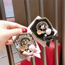 Korea Handmade Vintage Bowknot Cartoon Star Button Badge Brooches Pins Fashion Jewelry Woman Accessories-JQGWBH036E