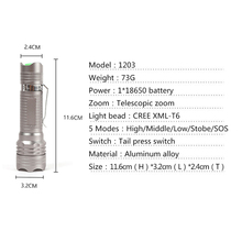 Brightest Protable XM-L T6 LED Flashlight 3800 Lumen Tactical Flashlight Zoomable 5 Modes Torch Focus Lamp For Cycling Camping