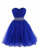Line Милая Блестками Pleat Над Коленом Мини Выпускные Платья Короткие Партии Платья Новое Прибытие Royal Blue Homecoming Платье