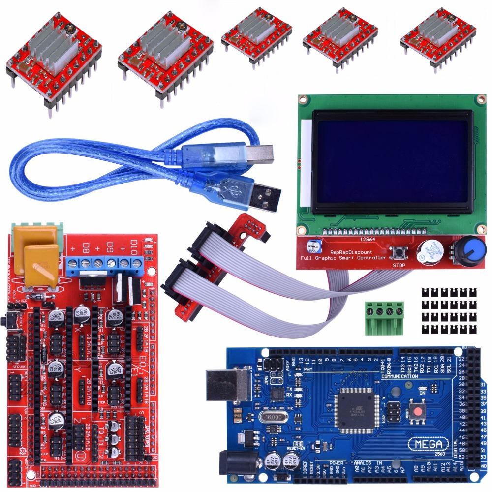 все цены на Mega 2560 R3 Mega2560 REV3 Board + RAMPS 1.4 Controller + RAMPS1.4 LCD 12864 LCD For Arduino Reprap MendelPrusa 3D Printer Kit онлайн