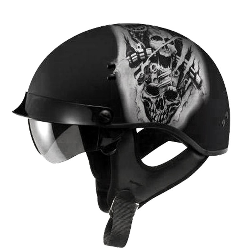 Harley Half Open Face DOT Motorcycle Helmet Skull Vintage Moto Helmets With Inner Visor Motocicleta Capacete Retro Casco Casque for top gear the stig helmet with silver visor tg collectable like simpson pig yellow motorcycle helmet you re the stig