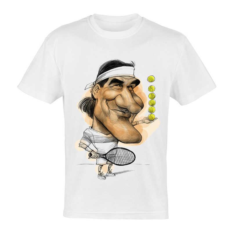 メンズ漫画ロジャー · フェデラー Tシャツ半袖カジュアルファッションスター · フェデラー Tシャツトップ Tシャツトレンディ男性供给 Tシャツ