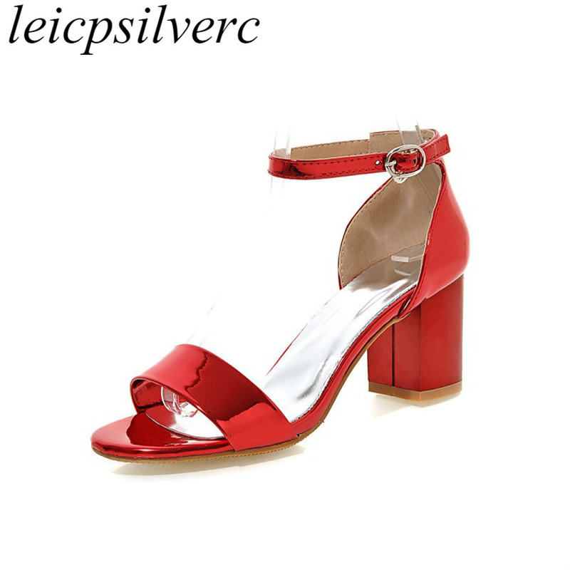 63927570065be Women's Sandals 2018 New Sexy Fashion Spring Summer High Heels Pu Buckle Square  Heel Peep Toe Casual Shoes Red Gold Pink Silver