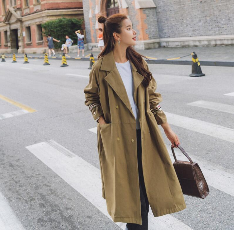 Women'S   Trench   Coat New 2019 Autumn Fashion Casual Long Outerwear Elegant Women'S Windbreaker Ds50160