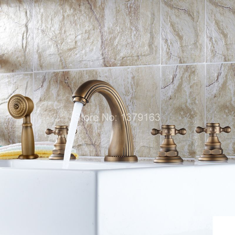 Deck Mounted 5 Holes Bathtub Mixer Faucet Antique Brass Widespread 3 Handle bathroom basin Faucet Set Handshower atf053 цена