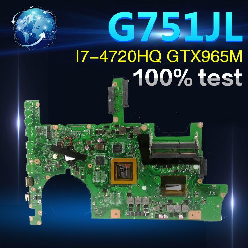 Amazoon ROG G751JL carte mère D'ordinateur Portable pour ASUS G751JT G751JY G751JL G751J G751Tested carte mère d'origine I7-4720HQ GTX965M