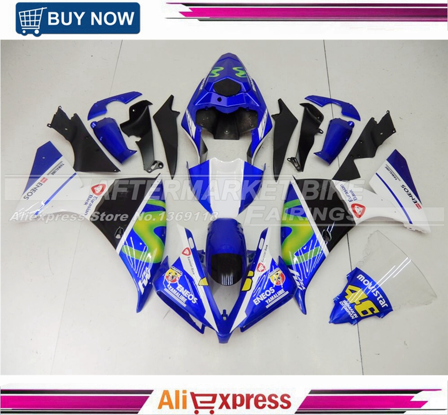 Complete Fairings For Yamaha YZF R1 12 13 14 2012 2013 2014 Injection ABS Plastic Motorcycle Fairing Kit ABS Cowling Blue VR46 for yamaha tmax530 2012 2014 plastic abs injection motorcycle fairing kit bodywork cowlings