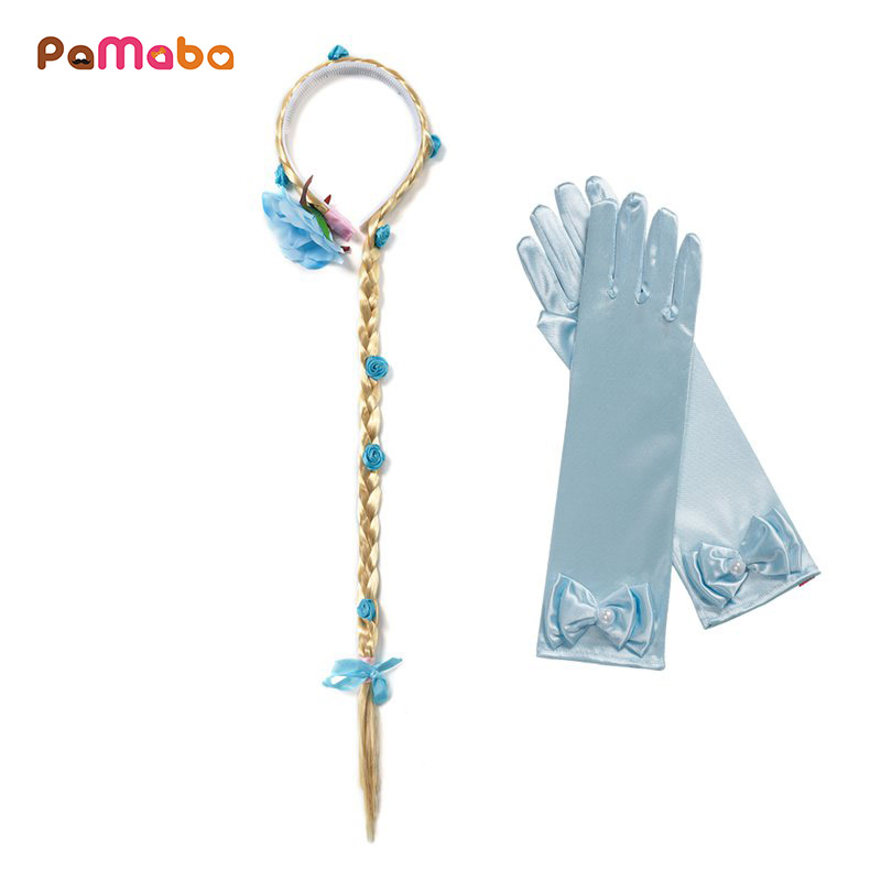 PaMaBa Princess Elsa Anna Cinderella Rapunzel Aurora Sofia Cosplay Accessory Kit Gloves Wig Halloween Party Supplies dreadlocks girls fairy tale princess synthetic wavy wig children elsa belle rapunzel moana aurora anna mermaid party braid cosplay hair wig