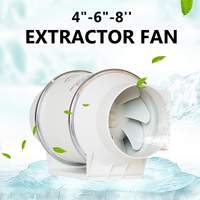 468 220V Exhaust Fan Home Silent Inline Pipe Duct Fan Bathroom Extractor Ventilation Kitchen Toilet Wall Air Clean Ventilator
