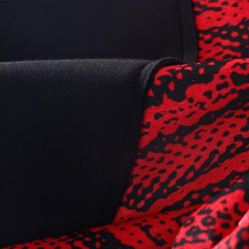 cou Robe Manches Naturel 3xl Complète Appliques Régulier O Samgpilee Hiver 2018 Red A L ligne Arrivée Casual longueur Femmes Imprimer Nouvelle Genou qBxq4AZ