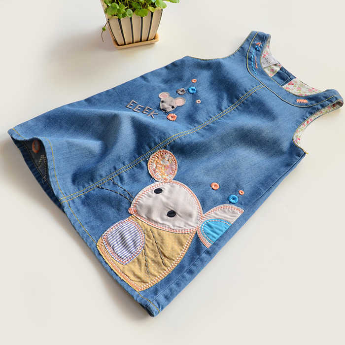 2019 Meisjes denim Vest Jurk Nieuwe Leuke muis Baby Kids Meisjes Peuter Denim Jeans Overalls Mouwloze Jurk Kleding 2-6Y