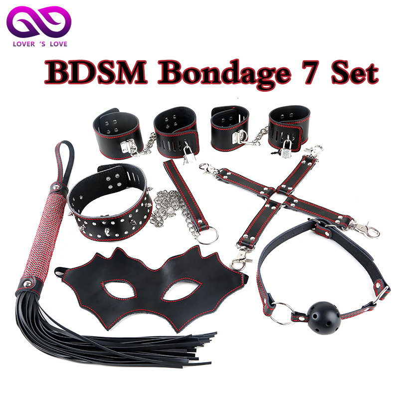 ФОТО Geniune Leather BDSM Bobdage Set BdSM Women Sex Toys Handcuffs Slave Collar Mask Whips Mouth gag ball for Sex toys for couple